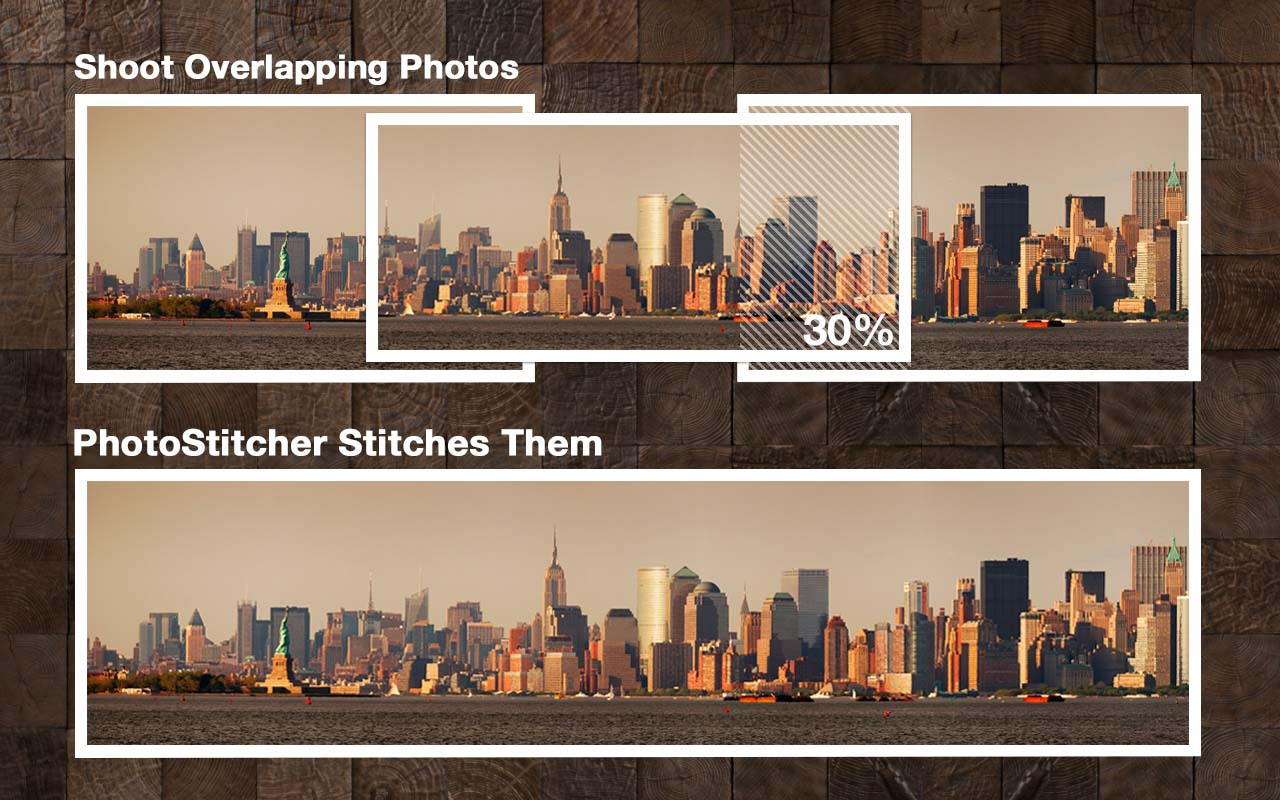 Shoot overlapping photos and PhotoStitcher stitches them all